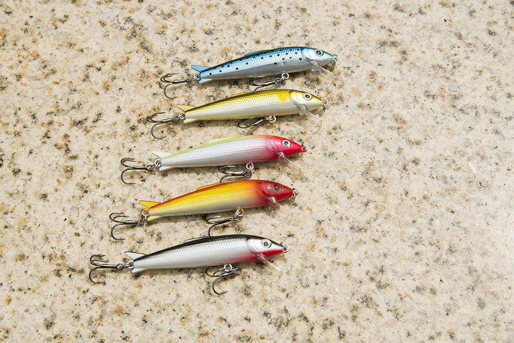 Goture Minnow Fishing Lures Hard Topwater Baits With 2 Sharp Treble Hooks For Bass Trout - Pack of 5