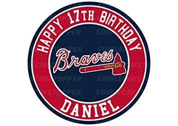 EdibleInkArt Atlanta Braves Edible Image Cake Topper Personalized Birthday 6quot Round Decoration Custom Sheet Party