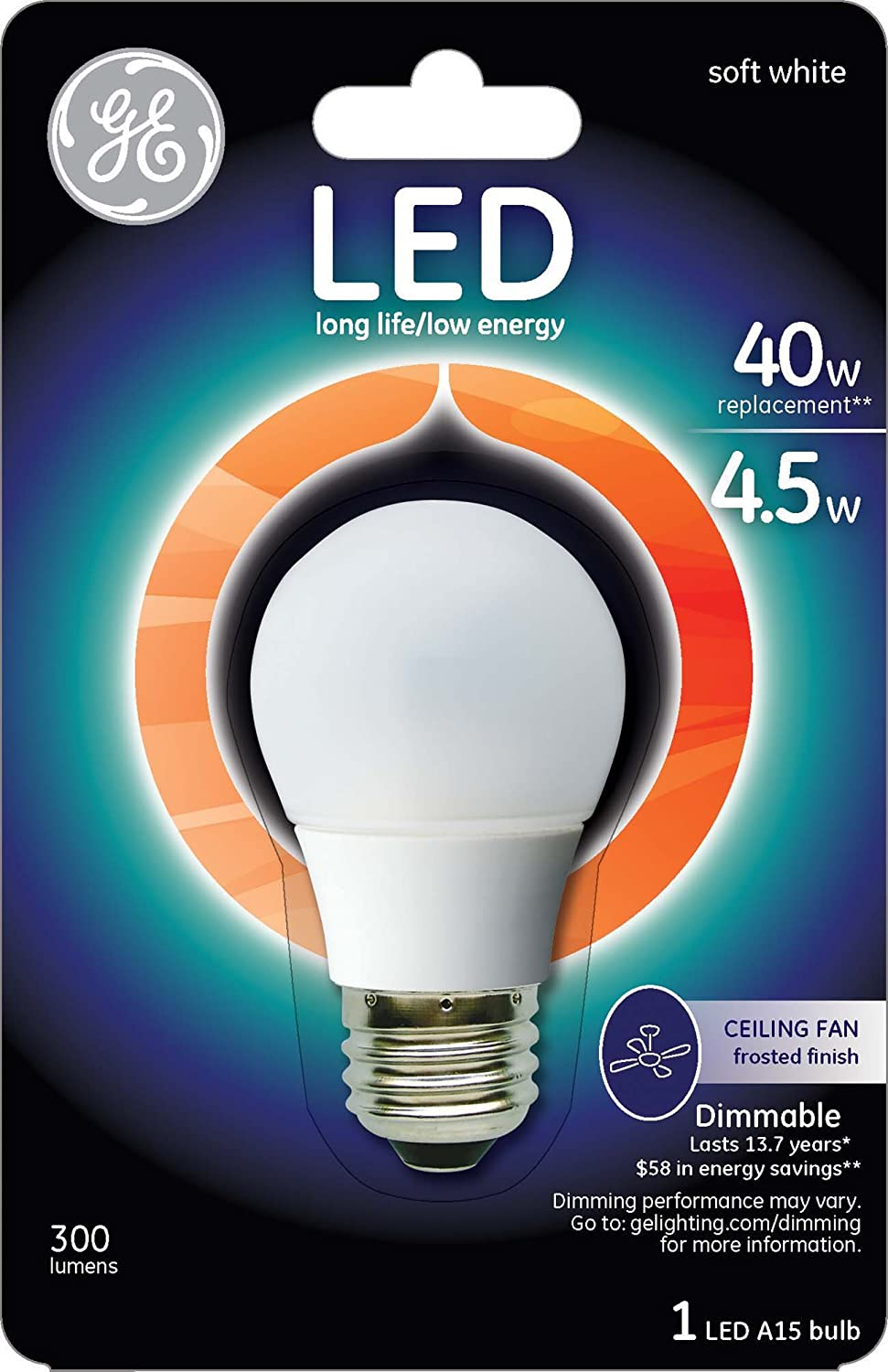 GE Lighting 23708 LED 4.5 Watt 350 Lumen Dimmable A15 Ceiling Fan Bulb With  Medium Base, Daylight Frosted, 1 Pack     Amazon.com