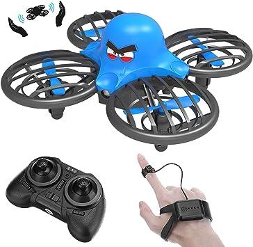 Opinión sobre FLYHAL F111, Infrarrojo Sensor RC Drone para Niños y Principiantes, Control Remoto por Reloj Inteligente y la Mano Sensor de Gravedad 360°Giros Control de Altitud Modo sin Cabeza 30 Metros UFO Drone