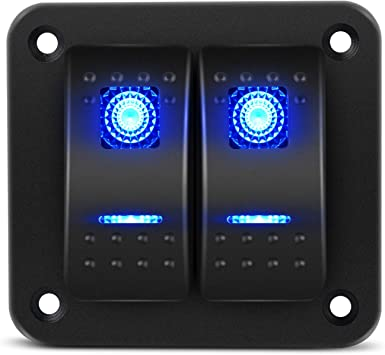 2-Gang 5 PIN Laser Rocker Switch Panel Kit Car Truck Boat Blue Light Button 12V