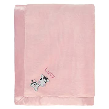 1b0663a46bd79 Amazon.com : Lucy Personalized Baby Blanket - Pink with Zebra & Name ...