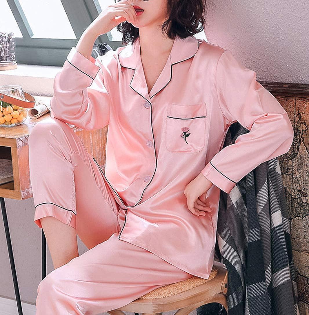 Seaoeey Womens Silk Satin Pajamas Set Loungewear Sleepwear PJ Set Home Service