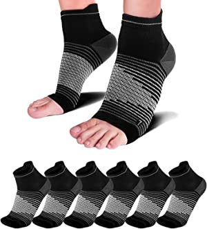 Plantar Fasciitis Socks(1/2/6 Pairs) for Achilles Tendonitis Relief, Best Compression Foot Sleeves with Arch Support for Plantar Fasciitis, Heel Pain, Foot & Ankle Support