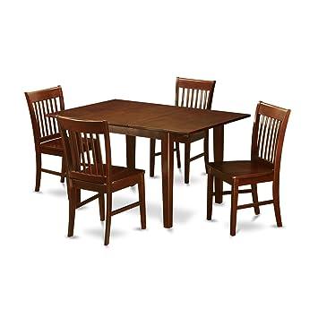 Amazon.com: East West Furniture psno5-mah-c 5-Piece Dinette ...