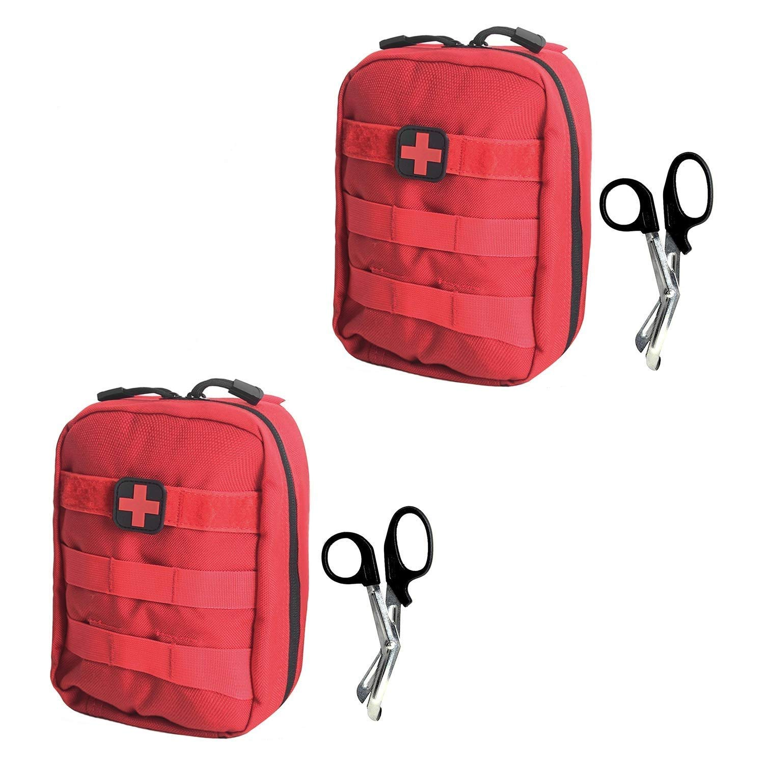 Tactical MOLLE EMT Pouch Medical Utility Bag 1000D Nylon with First Aid Patch and Shear (Red with First Aid Patch(2pack))