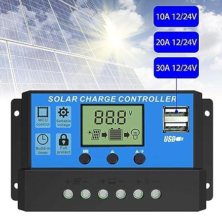Amazon.com: EEEKit Controlador de carga solar, panel solar ...