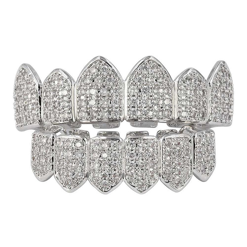 HonsCreat Silver Plated Bling Bling Cubic Zirconia Top & Bottom Grillz Mouth Teeth With Molding Bars