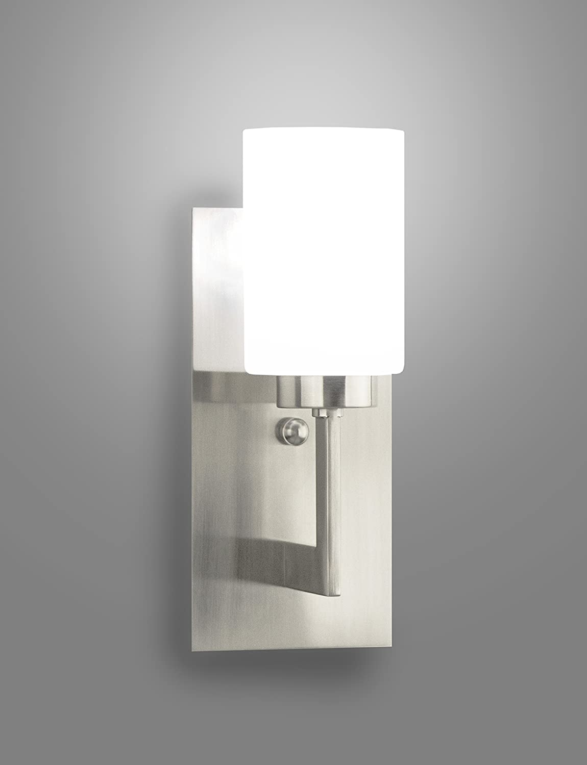 Brio Wall Sconce Light Fixture - Brushed Nickel w/ Frosted Glass ...