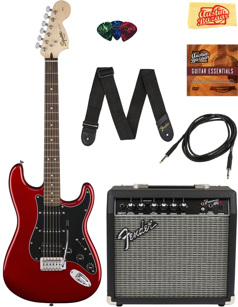 Squier by Fender Affinity Stratocaster HSS Pack with Frontman 15G Amp, Cable, Strap, Picks, and Online Lessons - Candy Apple Red Bundle with Austin Bazaar Instructional DVD