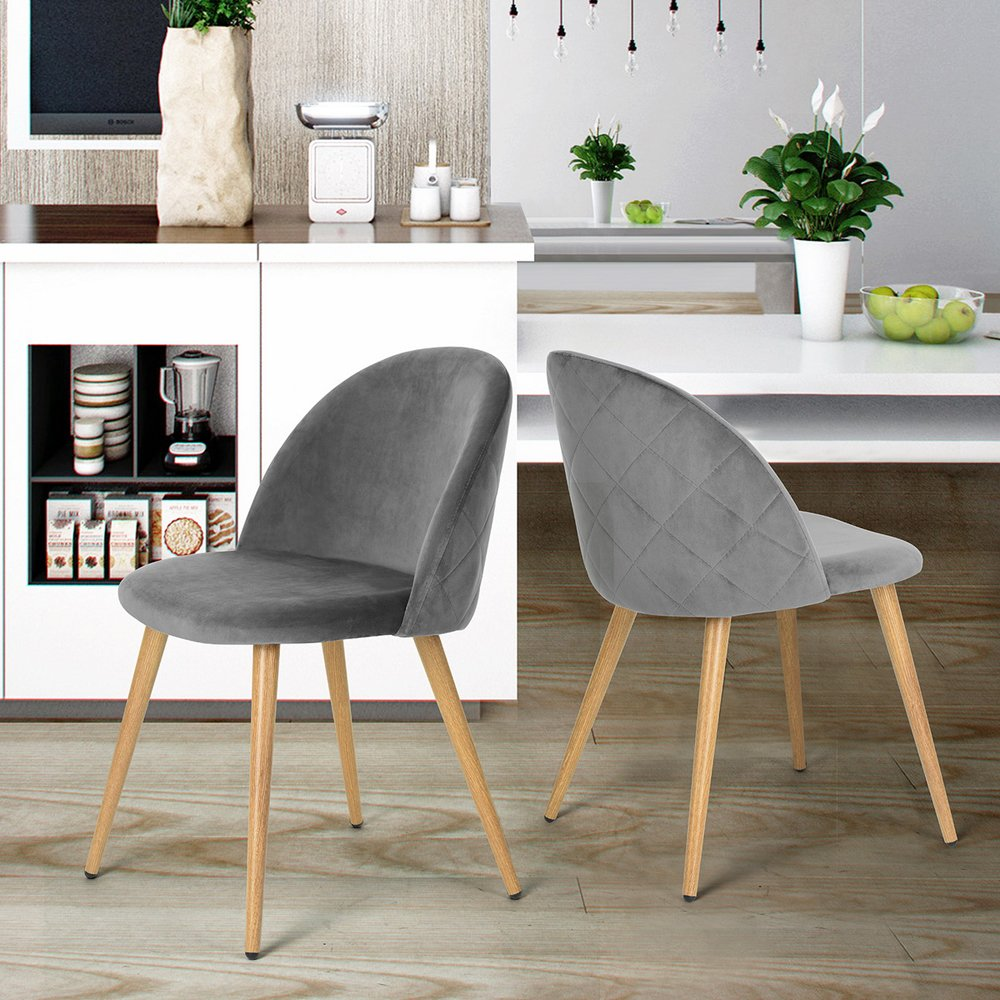 Homy Casa Set of 2 Dining Chairs Scandinavian Design Fabric Pineapple Velvet Pattern Seat Pad Print Wood Leg (Grey)