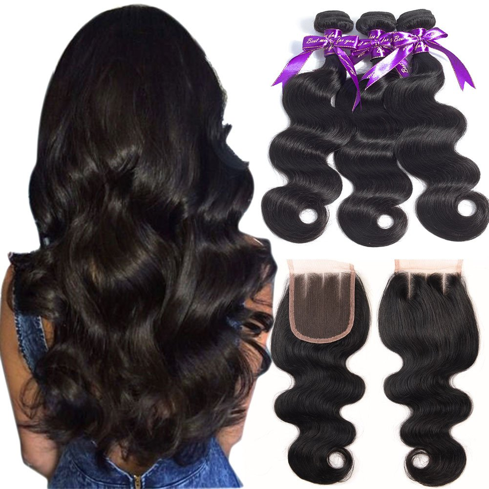 B&P Hair Body Wave Brazilian Hair 3 Bundles with Three Part Closure 7A Unprocessed Virgin Human Hair Weave Extensions Natural Color (16 18 20+14 Three part closure)