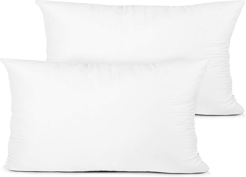 Edow Throw Pillow Insert, Set of 2 Hypoallergenic Down Alternative Polyester Decorative Pillow, Cushion,Sham Stuffer. (White, 12x20)