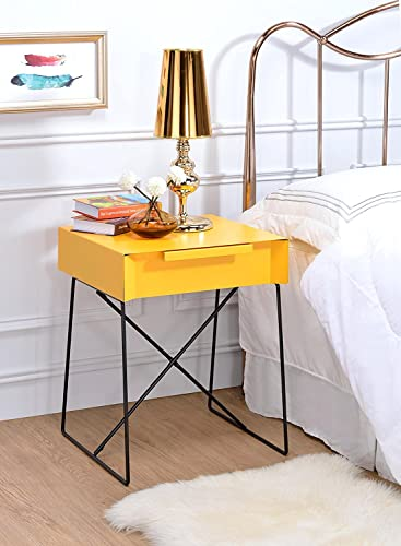Major-Q Retro Styled Side Table with Metal Base for Bedroom Living Room Game Room, Yellow Finish 18 x 15 x 22