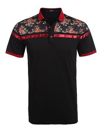 0f9316806e48de COOFANDY Men s Classic Floral Stripe Long Short Sleeve Light Weight Polo  Shirts
