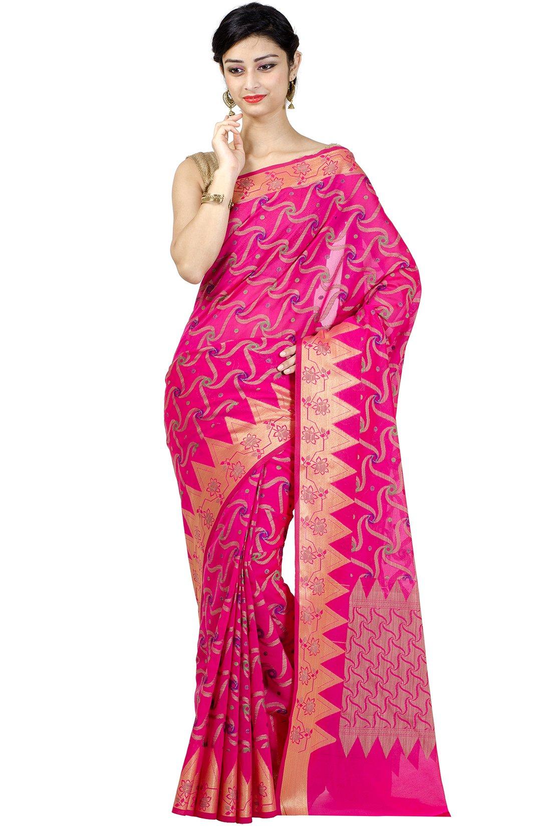 Chandrakala Women's Rani Banarasi Cotton Silk Saree