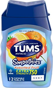 TUMS Smoothies Tablets Assorted Fruit 12 ct
