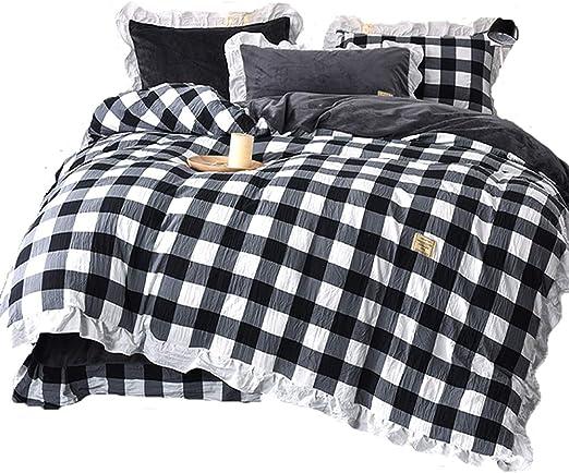 Amazon.com: Ukeler Buffalo Check Retro Plaid Bedding Set 4pc Black