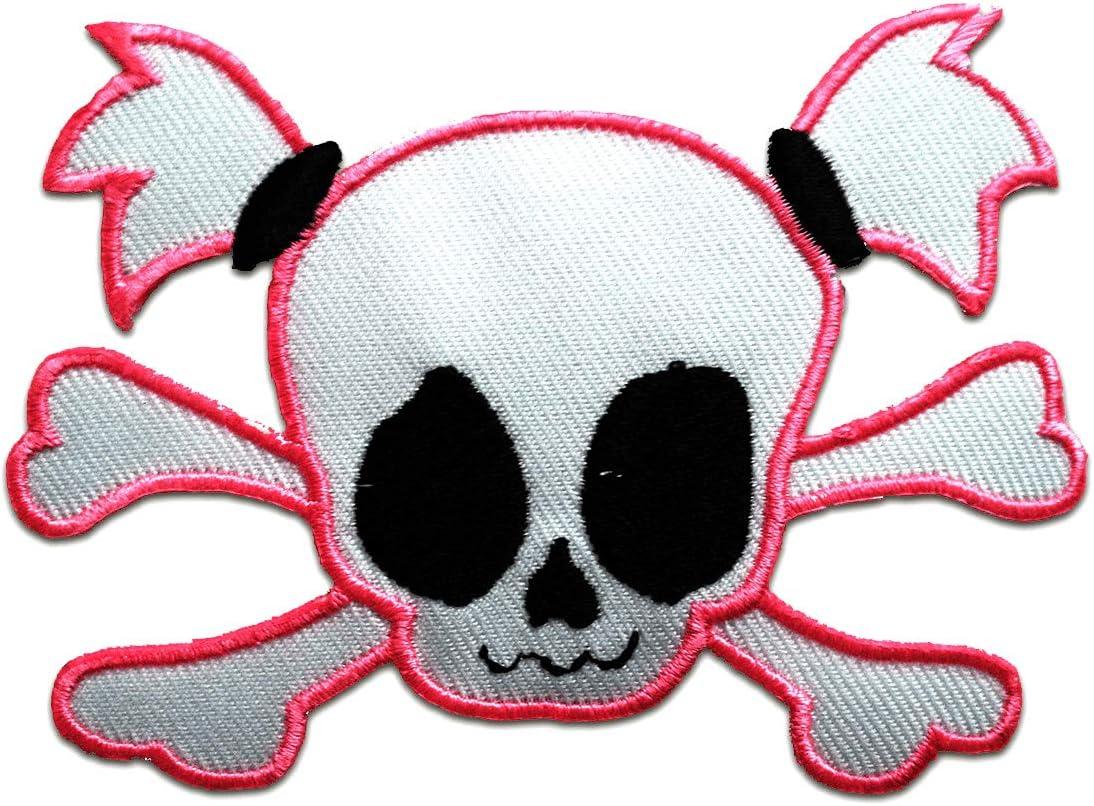 rosa 9,7x7,4cm Patch Toppa ricamate Applicazioni Ricamata da cucire adesive teschio Emo Toppe termoadesive