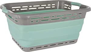 "Black & Decker Collapsible Laundry Basket, X-Large 25"" High, Aqua/LT Grey"