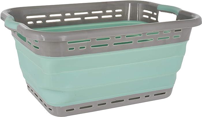 "Black & Decker Collapsible Laundry Basket, X-Large 25"" High, Aqua/LT Grey"