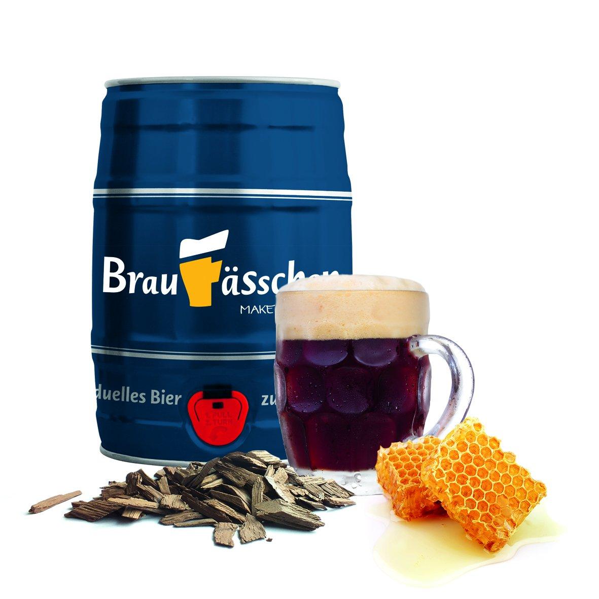 Bierbrauset zum selber Brauen – Dunkles mit Eichenholz & Honig im 5 L Bierfass - in 7 Tagen gebraut Customized Drinks GmbH