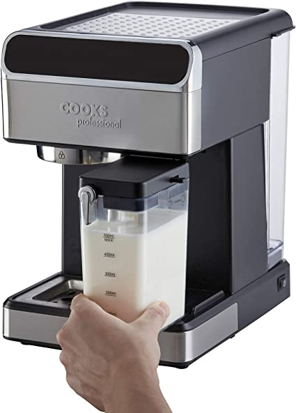 Cooks Professional 15 Bar Digital Coffee Machine, Milk Frother, 1350W, Hot Drinks Maker Espresso, Latte, Cappuccino with Removable Drip Tray &