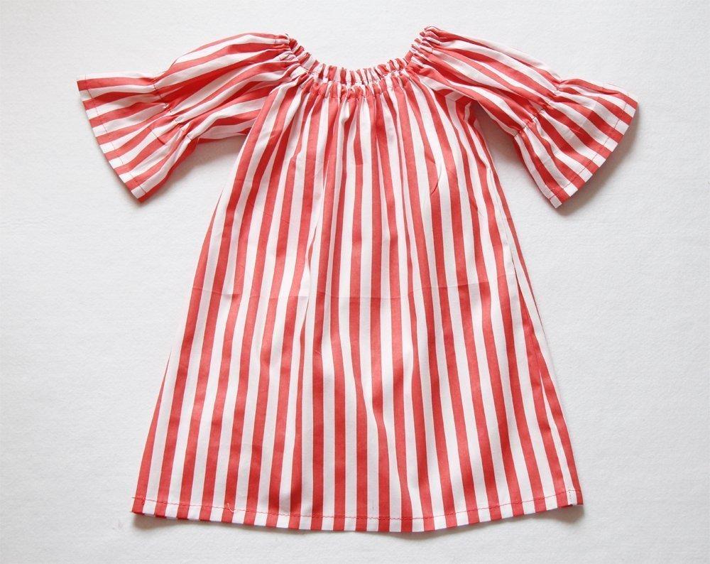 0f928e4a3 Amazon.com: Red Stripe Baby Girl Peasant Dress Christmas Dress: Handmade