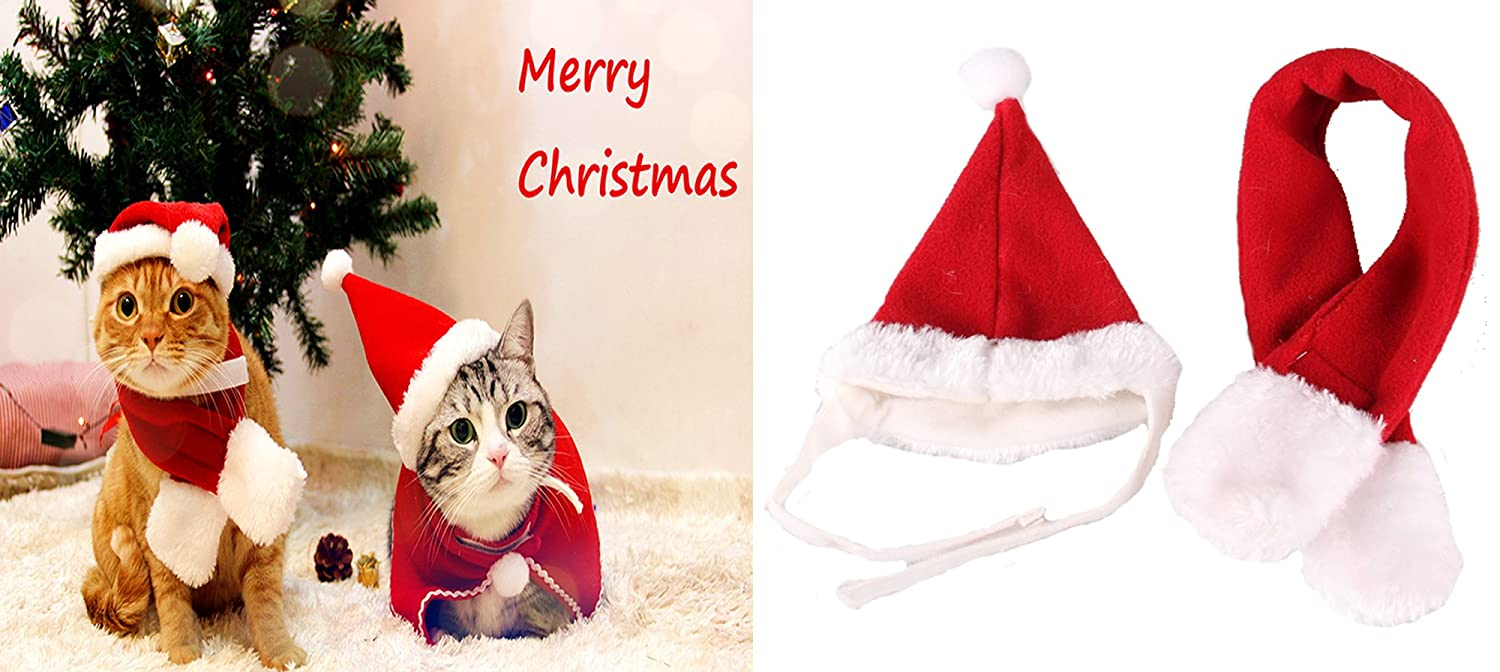 Alemon Cat Santa Christmas Holiday Kitty Accessories Hat & Scarf for Kitten Cats Small Dogs, Small