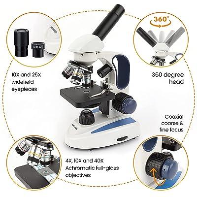 AMSCOPE-KIDS 40X-1000X Dual LED Illumination Portable Microscope with Kit