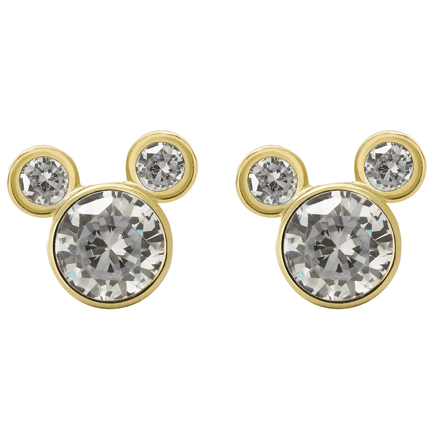 1e98009d5 Amazon.com: Disney Mickey Mouse Women Jewelry, 10k Yellow Gold Cubic  Zirconia Stud Earrings Mickey's 90th Birthday Anniversary: Jewelry