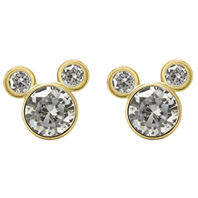 f530d069f Disney Mickey Mouse Women Jewelry, 10k Yellow Gold Cubic Zirconia Stud  Earrings Mickey's 90th Birthday