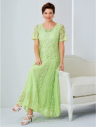 Marina Womens Size Long Sleeve Plus Sizewhite Lace Gown