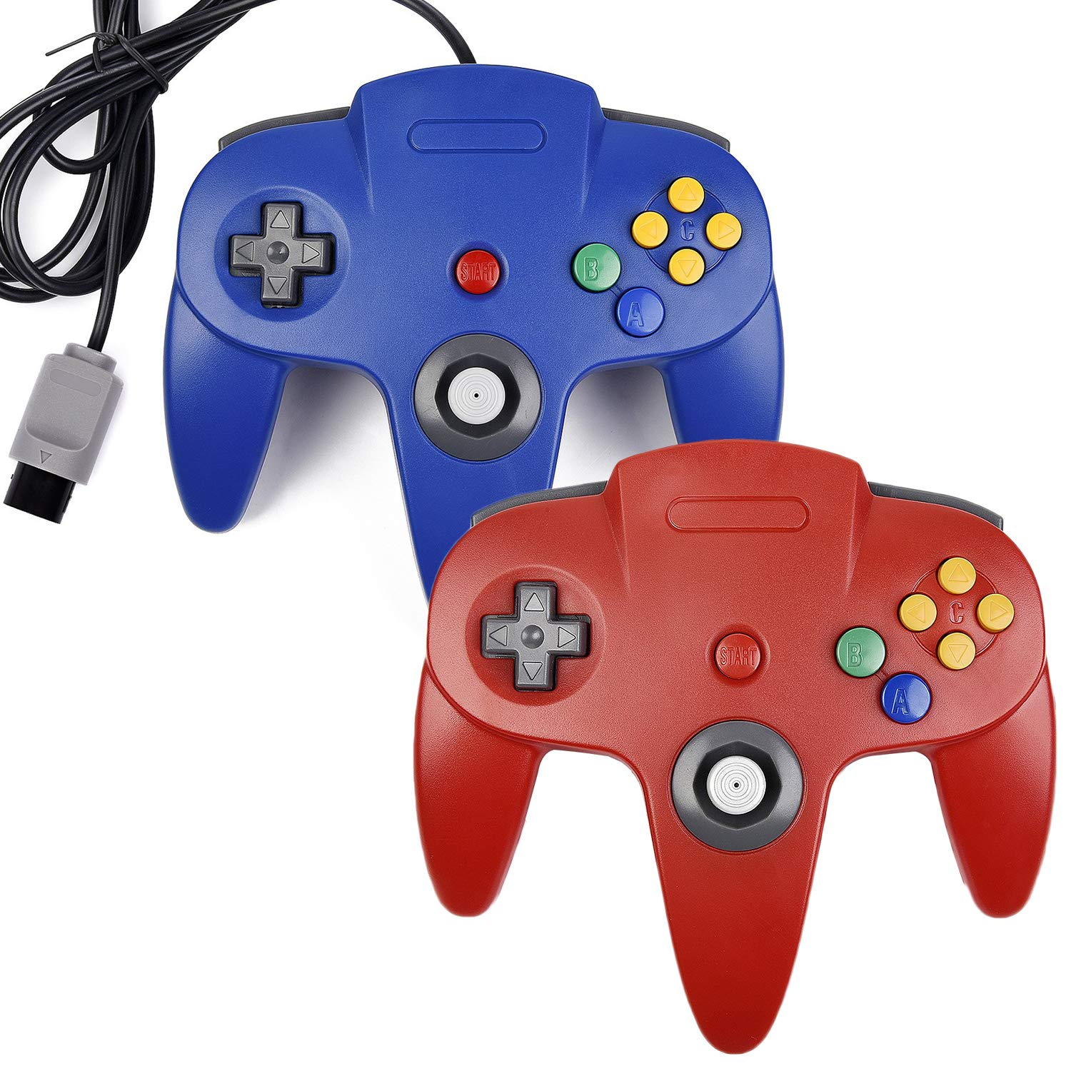 2xClassic N64 Controller,kiwitata Retro Wired Gamepad Controller Joystick for N64 Console Video Games System Red+Blue by kiwitata (Image #1)