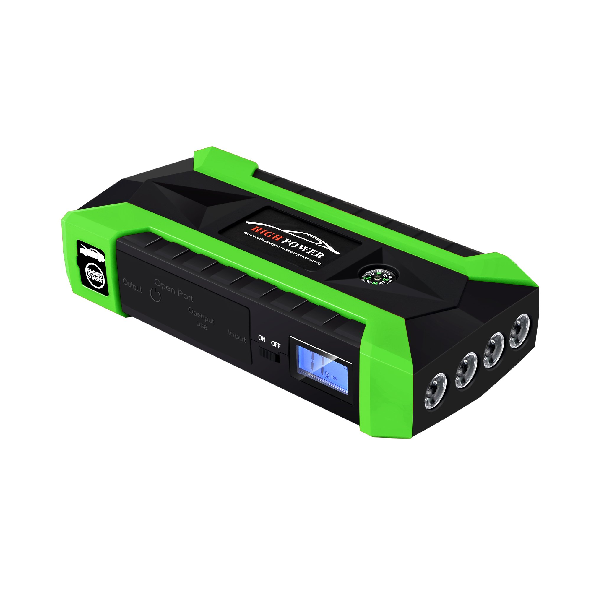 600A Peak 20000mAh/89800mAh Portable Car Jump Starter (up to 6.0L Gas, 3.0L Diesel Engine) Auto Battery Booster and Phone Chargerwith Smart Jumper Cables Power Pack (Green, 89800mAh)