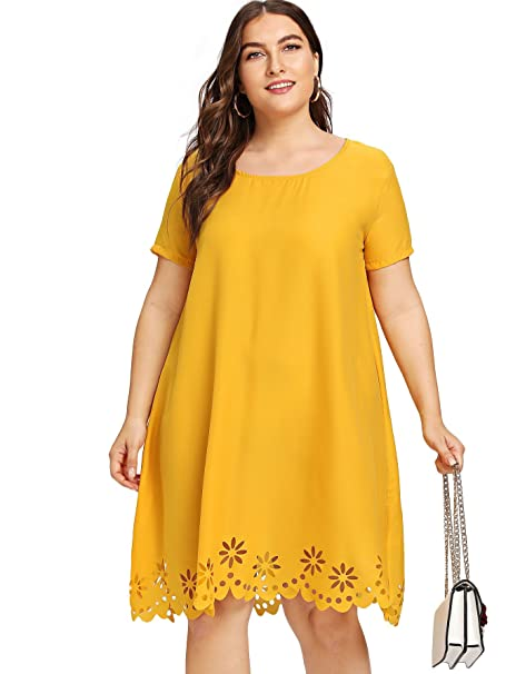 Romwe Women\'s Casual Plus Size Scallop Hem Hollow Cut Out Flower Midi Tunic  Dress