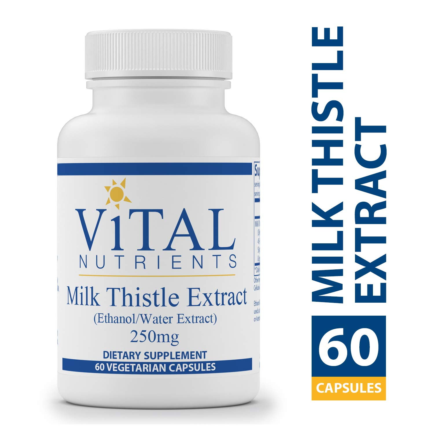 Vital Nutrients – Milk Thistle Extract Ethanol Water Extract 250 mg – Supports Healthy Liver Function and Acts as an Antioxidant – 60 Capsules