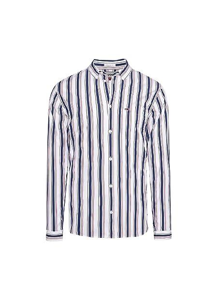 b8c8ee31 Tommy Hilfiger - Tjm Classics Stripe Shirt - Classic White/Multi:  Amazon.it: Abbigliamento