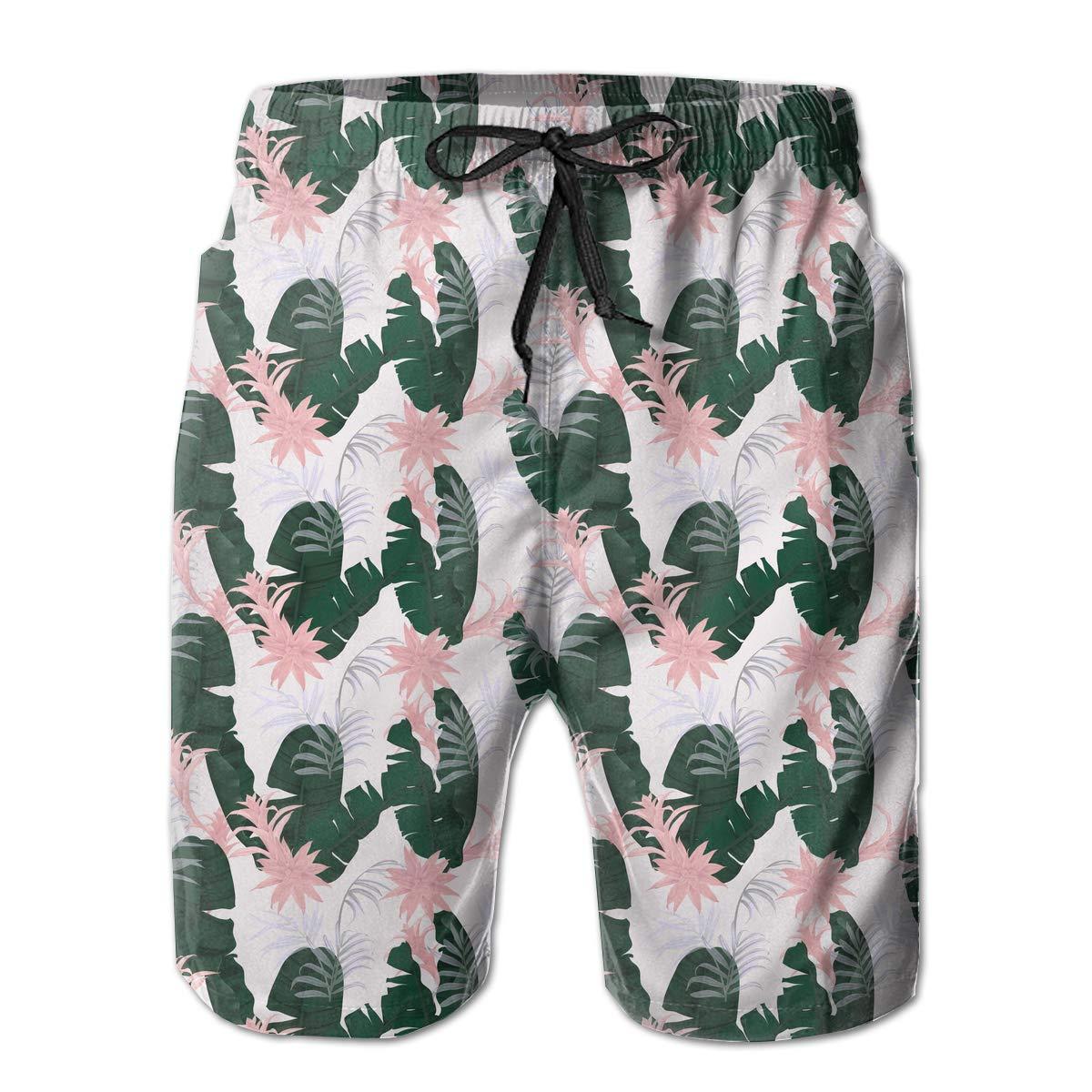Floral Plant Palm Leaves Pattern Mens Beach Shorts Slim-Fit Bathing Suit