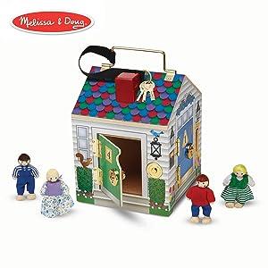 "Melissa & Doug Take-Along Wooden Doorbell Dollhouse (Doorbell Sounds, Keys, 4 Poseable Wooden Dolls, 9"" H x 6.8"" W x 6.8"" L)"