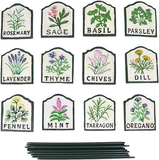 12 carteles pintados de hierbas – marcadores de tierra de hierro ...