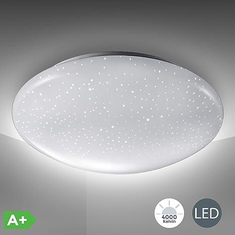12W Lámpara de techo blanco LED Ø290mm I Simulación de estrellas I Plafón redondo de moderno I Luz blanco frío 4000K I 230V IP20