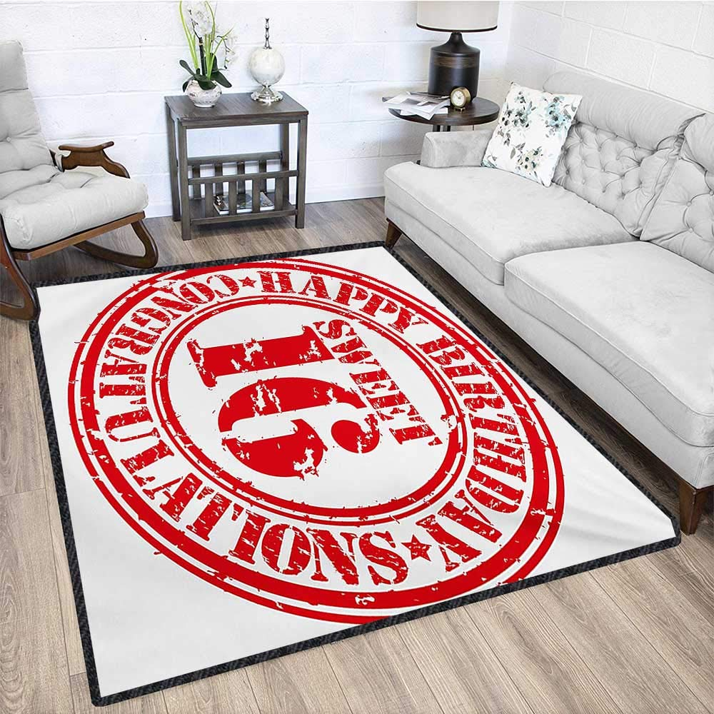 16th Birthday, Area Rug Dorm, Vintage Rubber Stamp Old Fashioned Greeting Sign Time Flies Theme Print, Door Mat Increase 6x9 Ft Vermilion White by lacencn (Image #4)