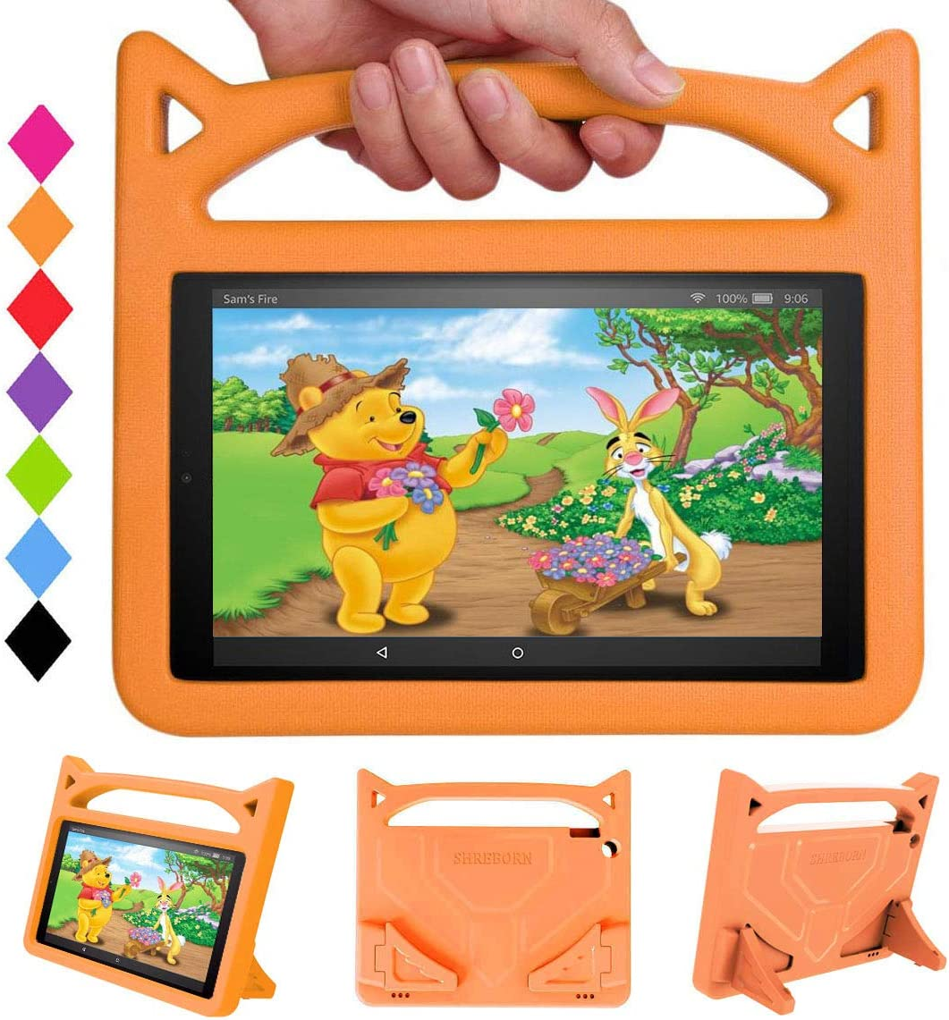 """Kid-Proof Case for All-New HD 10 Tablet(9th/7th/5th Generations, 2019/2017/2015 Releases) - SHREBORN [Kids-Friendly] Light Weight Shock Proof Case with Handle Stand for HD 10.1"""" Tablet(Orange)"""