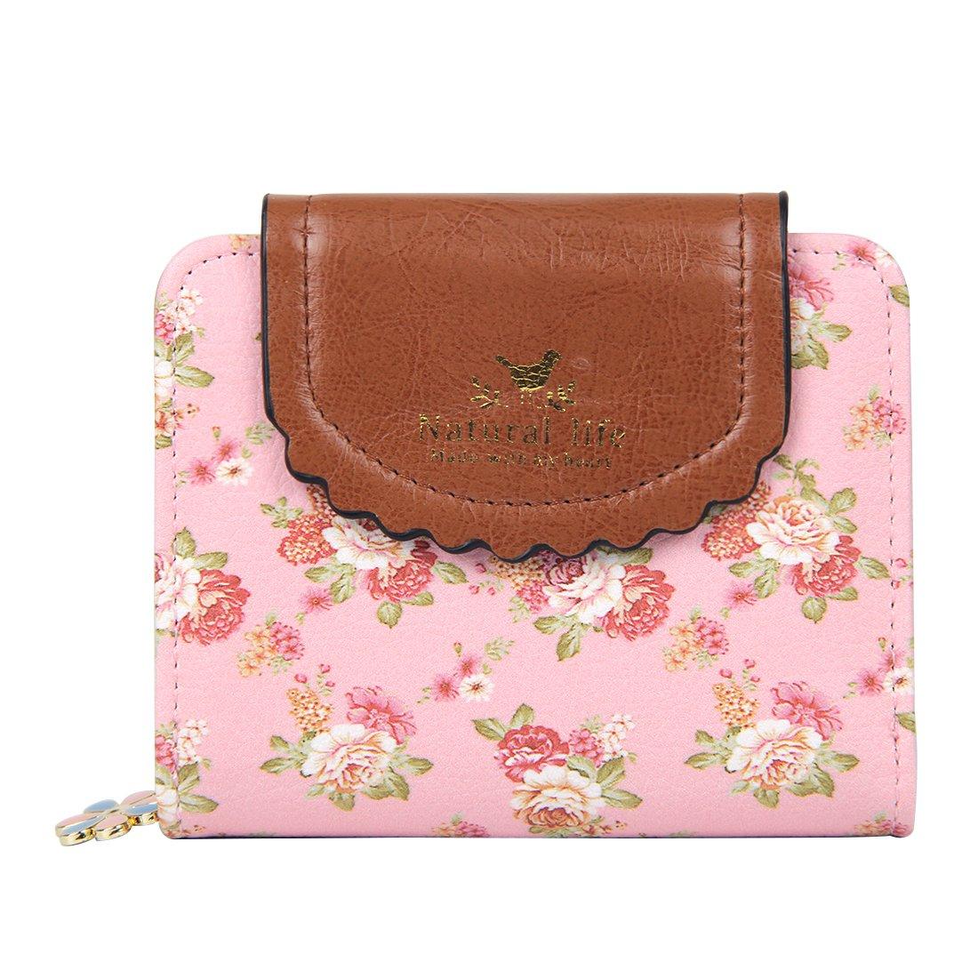 Badiya Women's Vintage Cute Floral Zip Mini Wallet Short Design Coin Purse Dreambox WW02006PP