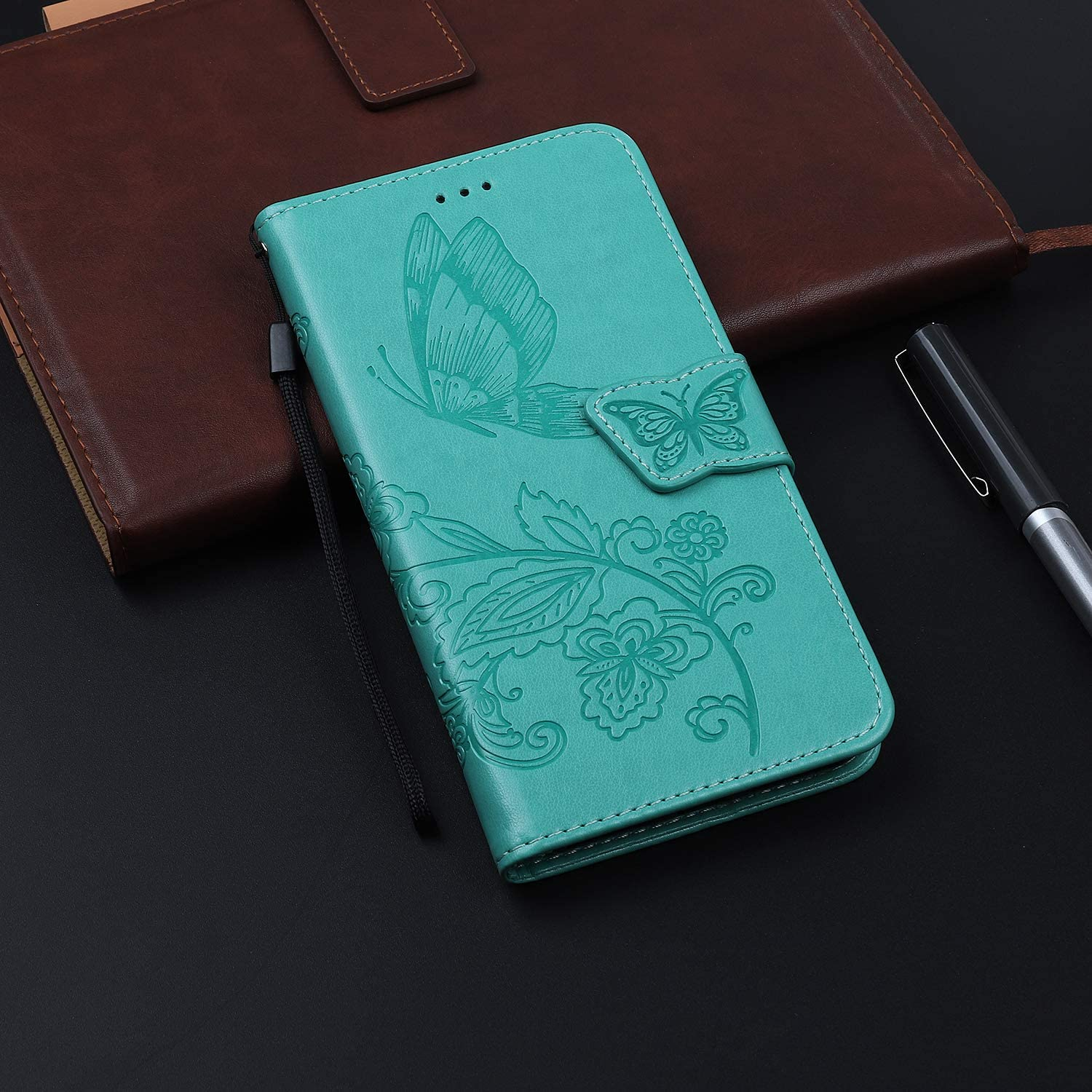 Thoankj Samsung Galaxy A70 Case PU Leather Flip Notebook Slim Fit Wallet Phone Case Butterfly with Kickstand Credit Card Slot Holder TPU Gel Bumper Folio Protective Cover for Samsung Galaxy A70 Blue