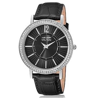 Damenuhren schwarz silber  ALEXANDER MILTON Damenuhr, Edelstahl - Modell DIANA - schwarz ...