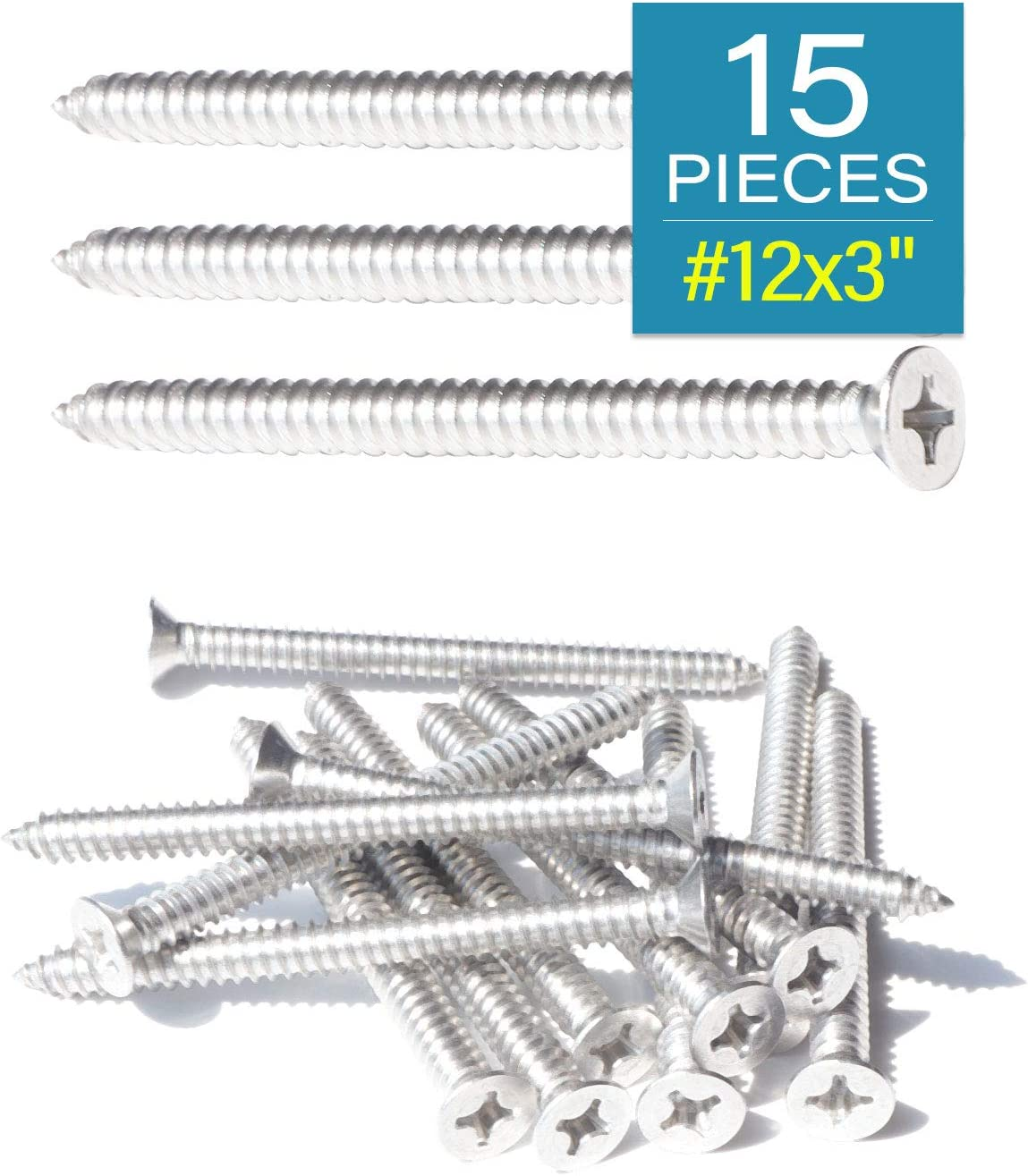 IMScrews 15pcs #12 x 3 Stainless Steel Countersunk Self Tapping Screws 75mm 304 Stainless Flat Head Phillips Wood Screws 18-8