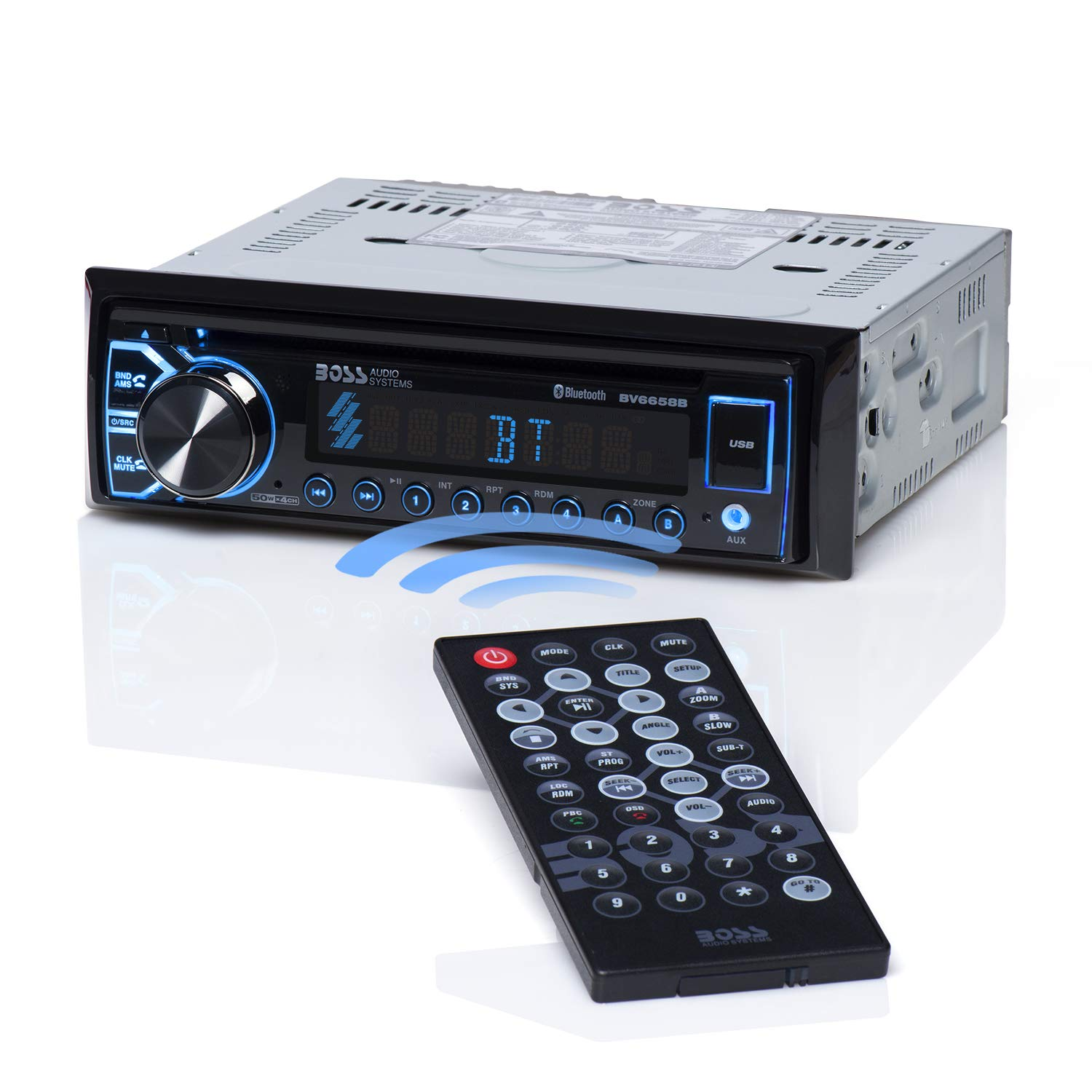 BOSS Audio BV6658B Car Stereo DVD Player - Single Din, Bluetooth Audio and Hands-Free Calling, Built-in Microphone, CD/DVD/MP3/USB/AUX Input, AM/FM Radio Receiver, LCD Display, Wireless Remote Control by BOSS Audio Systems