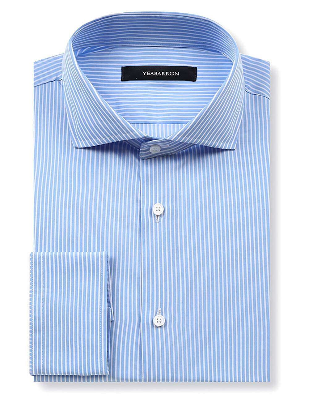 20fa108524e YEABARRON Custom Blue Stripe Slim Fit Long Sleeve Monogrammed French Cuff Dress  Shirts for Men at Amazon Men s Clothing store